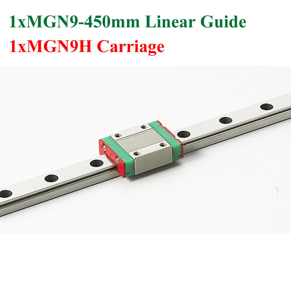 ФОТО MR9 9mm Mini MGN9 Linear Guide Rail Length 450mm With MGN9H Linear Block Carriage For Cnc