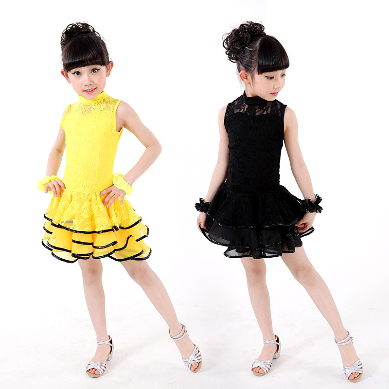 Hot Sale Girls Dance Clothes High Quality Dance Costumes Children Latin Dance Dress Elegant Lace Kids Princess Layered Dress pegasus girls sexy latin dance dress fashion female dance dress1448 new clothes and costumes