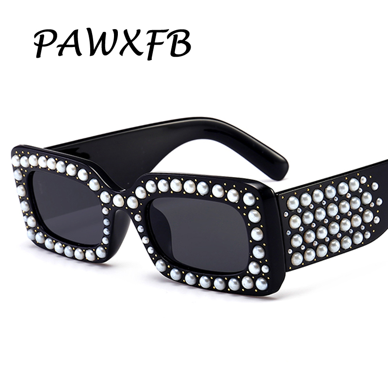 Pop Age 2018 Newest Italy Brand Designer Square Sunglasses Pearl Diamond Celebrity Sunglasses Luxury Pearl Frames Eyeglasses in Women 39 s Sunglasses from Apparel Accessories