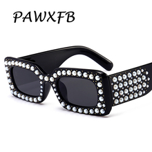 Pop Age 2018 Newest Italy Brand Designer Square Sunglasses Pearl Diamond Celebrity Luxury Frames Eyeglasses