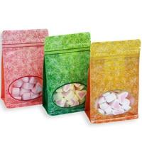 Wholesale 100pcs/lot 10x16x6cm Small Plastic Window Ziplock Packaging Bag Clear Window Coffee Powder Sugar Plastic Gift Bags