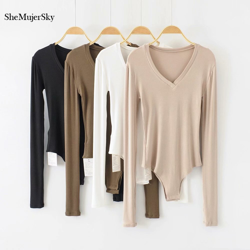 SheMujerSky Slim Long Sleeve Bodysuits Autumn Solid White Skinny Bodysuit V-neck Short Jumpsuits