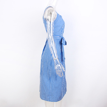 Vestido azul Listrado Arco Bandagem Vero пикантные Fora сделать Ombro Vestidos de Mulheres сделать партия Camisa однобортный Elegante mid