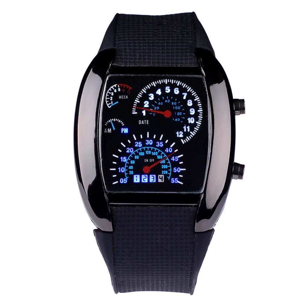 Fashion Mens RPM Turbo Black Flash LED Sports Car Meter Dial Watch Wristwatch
