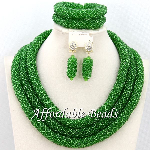 Green African Costume Jewelry Set Hot Sale Wedding Jewelry Set Handmade Item Free Shipping BN282 cd158 1 free shipping hot sale fashion design shoes and matching bag with glitter item in black