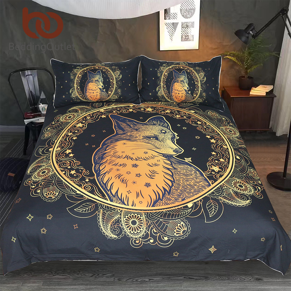 BeddingOutlet Golden Fox Bedding Set Animal Stars Duvet Cover Set Paisley Home Textiles 3-Piece Leaf Leaves Flower BedspreadsBeddingOutlet Golden Fox Bedding Set Animal Stars Duvet Cover Set Paisley Home Textiles 3-Piece Leaf Leaves Flower Bedspreads