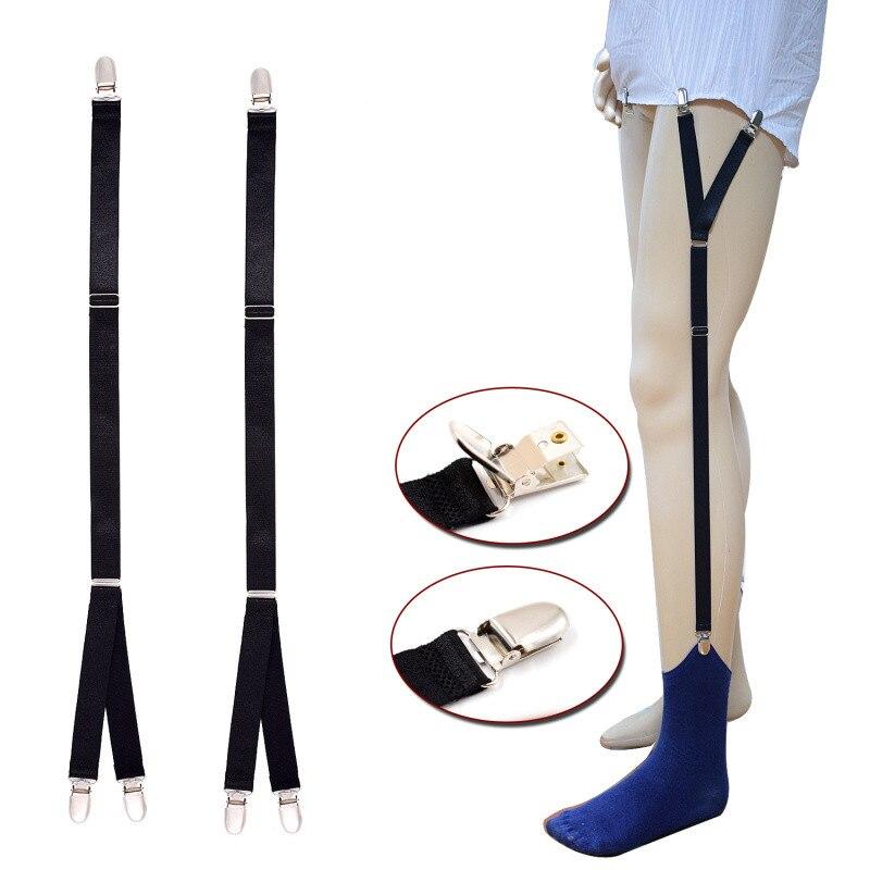 Mens Shirt Stays Garters Adjustable Shirt Holders Crease-Resistance Belt Stirrup Style Suspenders