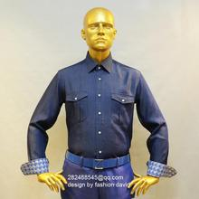 man's jeans cotton casual shirt with two patch pockets, custom tailor made designer bespoke shirt , free shipping