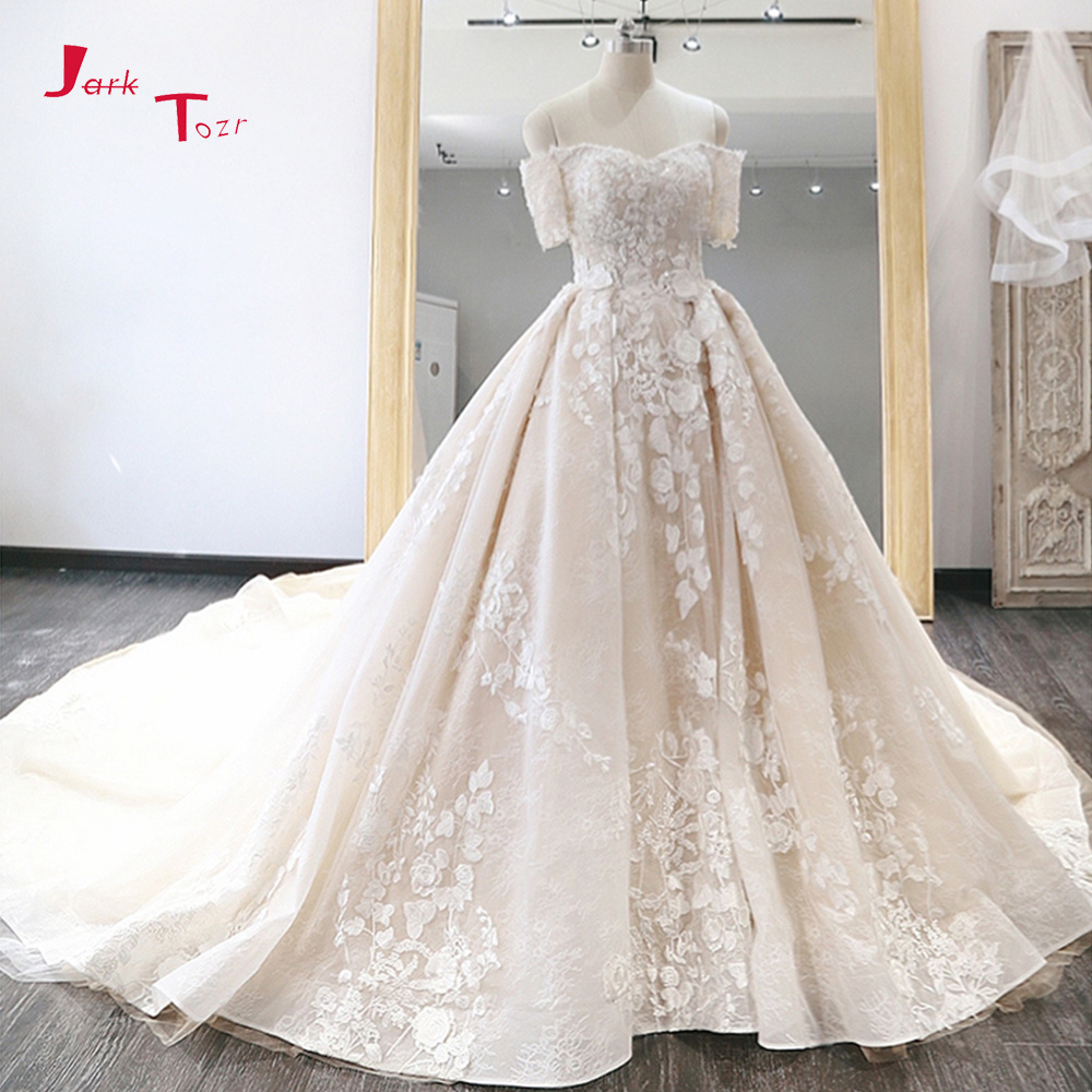 Jark Tozr Off The Shoulder Short Sleeve Beading Pearls Appliques Lace Princess Ball Gown Wedding Dresses