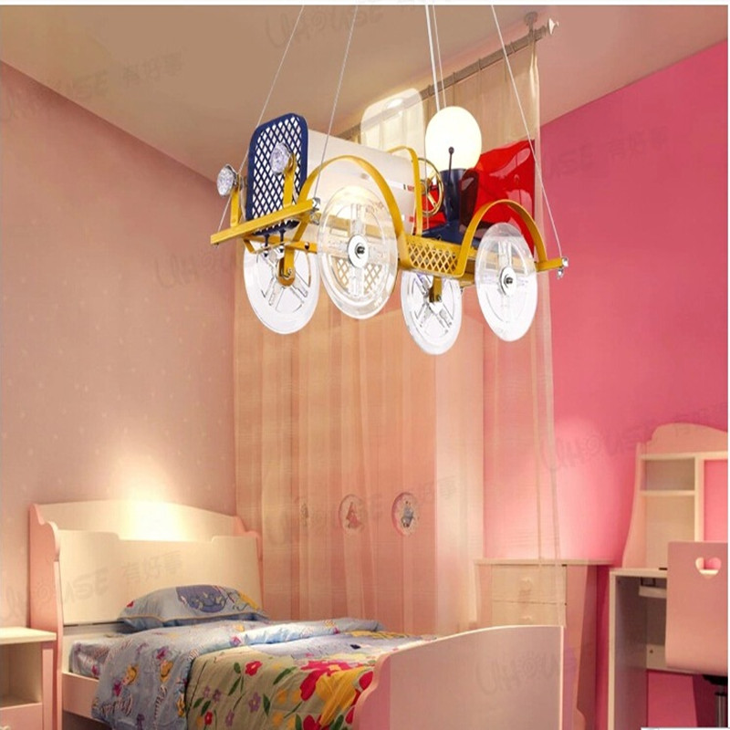 US $131.75 15% OFF|Creative Classic Cars Child Bedroom Chandelier Boys And  Girls Study Iron Lamp Bedroom Lamp Remote Control LED Lamp Free Shipping-in  ...