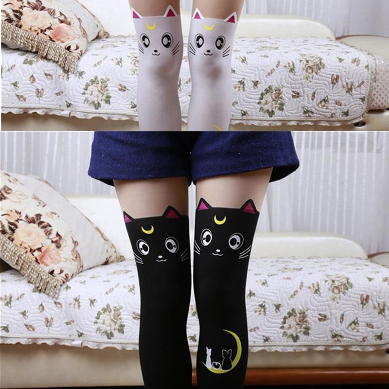 Cute Sailor Moon Cat Luna Stockings Socks Pantyhose Anime Cosplay Props