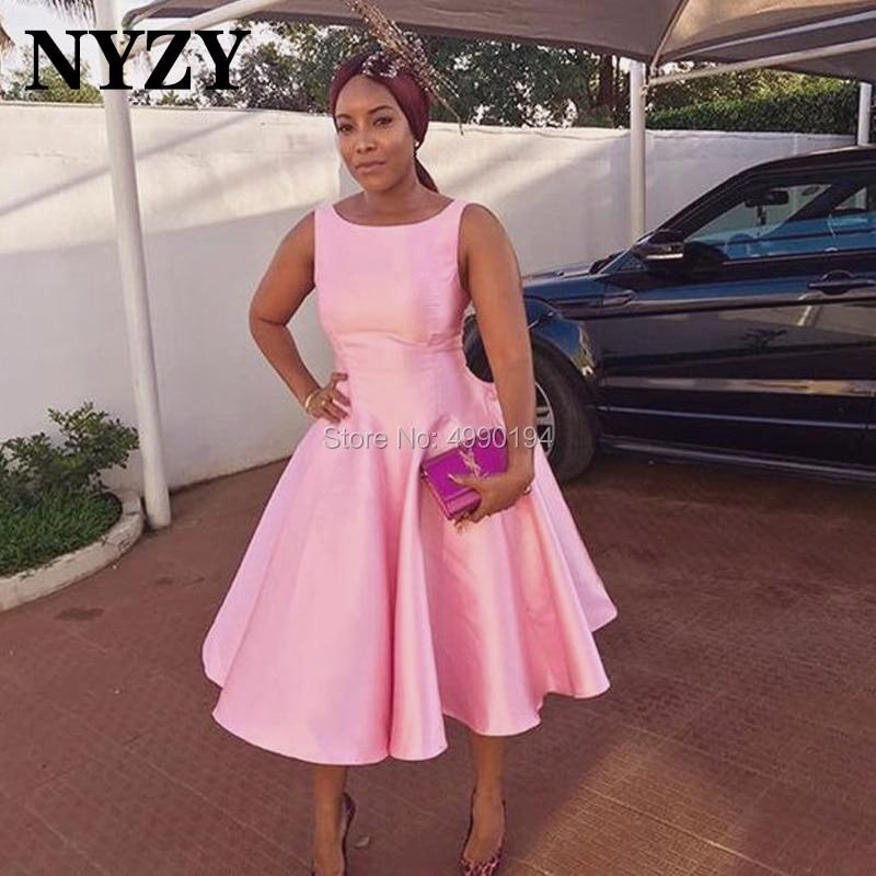 NYZY C115 Ball Gown Tea Length Sleeveless Pink Satin Dress Party Cocktail Short Formal Dress robe de soiree courte