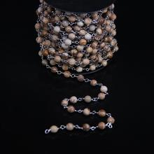 6mm Picture Jaspers Faceted Round Beaded Chain,Plating Silver Tone Wire Wrapped Link Natural Picture Stone Rosary Chain Necklace