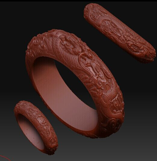 3d model relief for cnc in STL file format Double dragon bracelet panno hunting 2 for cnc in stl file format 3d model relief