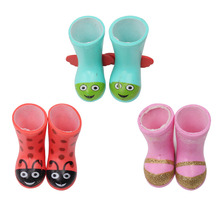 Dolls cute boots rounded toes shoes 3 colors fit American 14.5-inch girl doll accessory best gift for children x26-x28