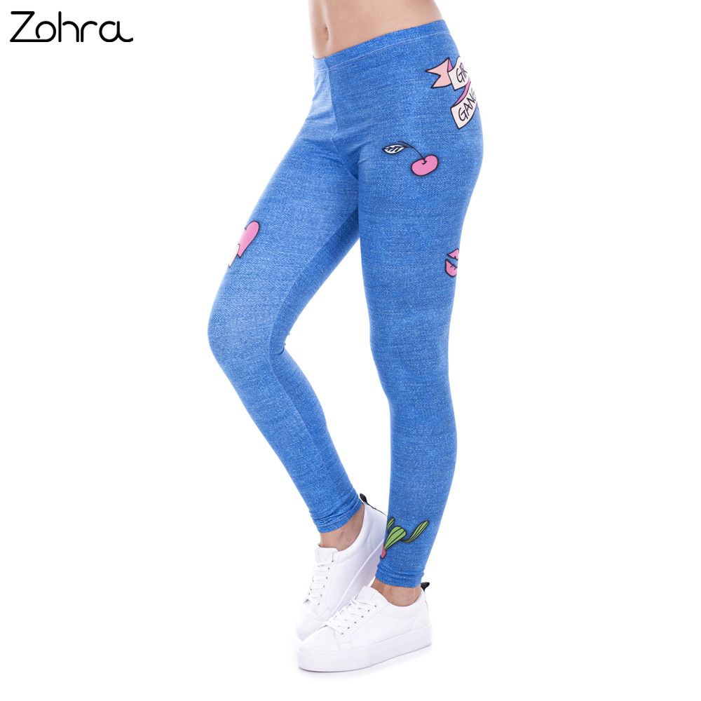 Zohra Fashion   Legging   Female Gang Jeans Design Legins Denim Blue Leggins Printed 100% Brand New Women   Leggings   Women Pants