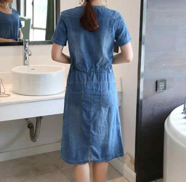 Летняя стильная женская одежда больших размеров, женская одежда на шнуровке пляжный джинсовое платье с короткими рукавами, винтажное элегантное джинсовое платье AW723