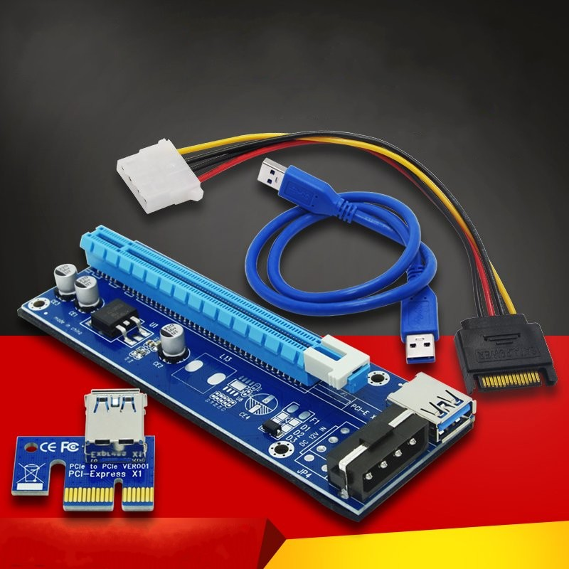 все цены на Riser Card PCIe PCI-E PCI Express Card 1x to 16x USB 3.0 Data Cable SATA to 4Pin IDE Power Supply for BTC Miner Machine Mining онлайн