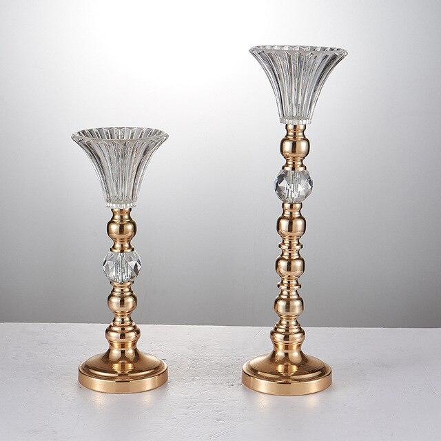 Wholesale Wedding Props 10 Pieces Crystal Glass Metal Pillar Vase