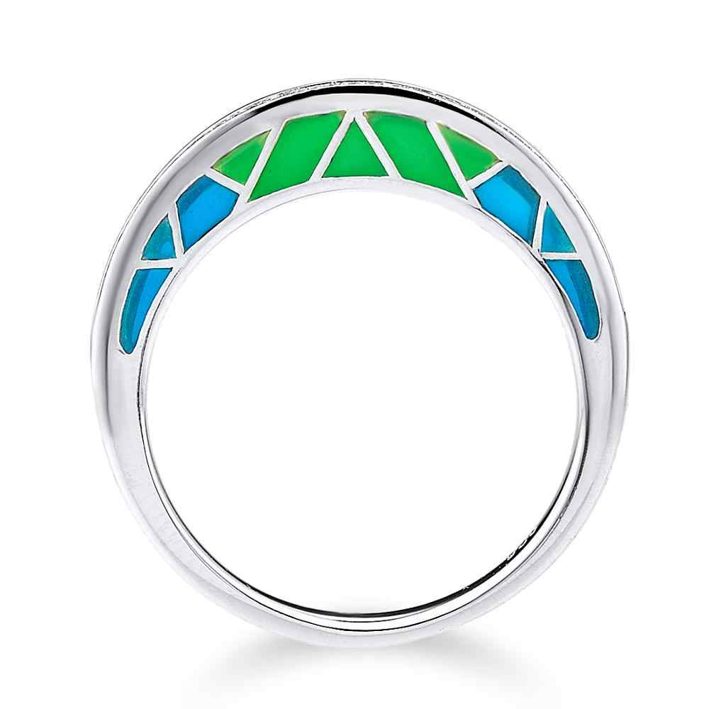 SANTUZZA แหวนเงิน 925 เงินสเตอร์ลิงแหวน Creative สำหรับหญิง Luminous แหวน Cubic Zirconia เครื่องประดับเคลือบ
