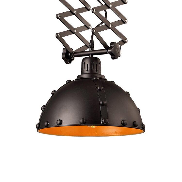 European style black adjustable retractable ceiling lamp retro loft iron restaurant bedroom coffee shop ceiling light ZA9201 цена и фото