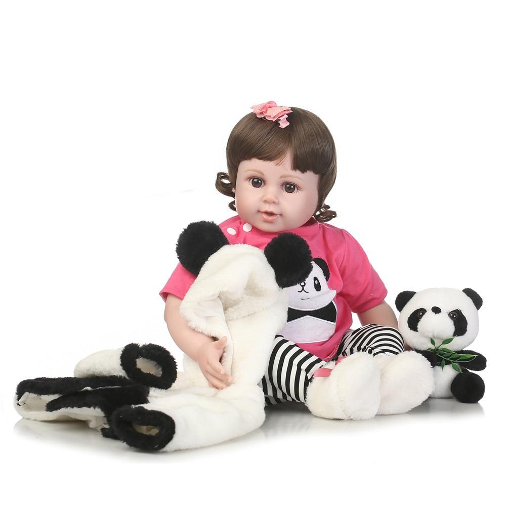 "22"" bebe doll reborn toys soft cloth body silicone reborn babies panda clothing set girl dolls toys xmas gift bonecas"