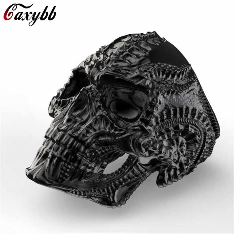 Dropshipping New Punk 316L Stainless Steel Alien Skull Ring for Men