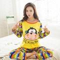 2017 Primavera Mujeres de Los Pijamas Pijamas Mujer Sonrisa de Dibujos Animados Mono Pijamas Femme Homewear ropa de Dormir de Mujer de Manga Larga M ~ XL