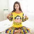 Primavera 2017 Pijamas Das Mulheres Pijamas Conjuntos Pijamas Femme Mujer Sorriso Macaco Dos Desenhos Animados Manga Longa Sleepwear Homewear Feminino M ~ XL