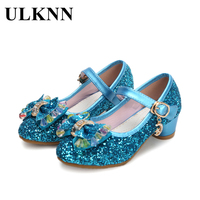 a62f4ad455d 2017 Spring Kids Girls High Heels For Party Sequined Cloth Blue Pink Shoes  Ankle Strap Snow