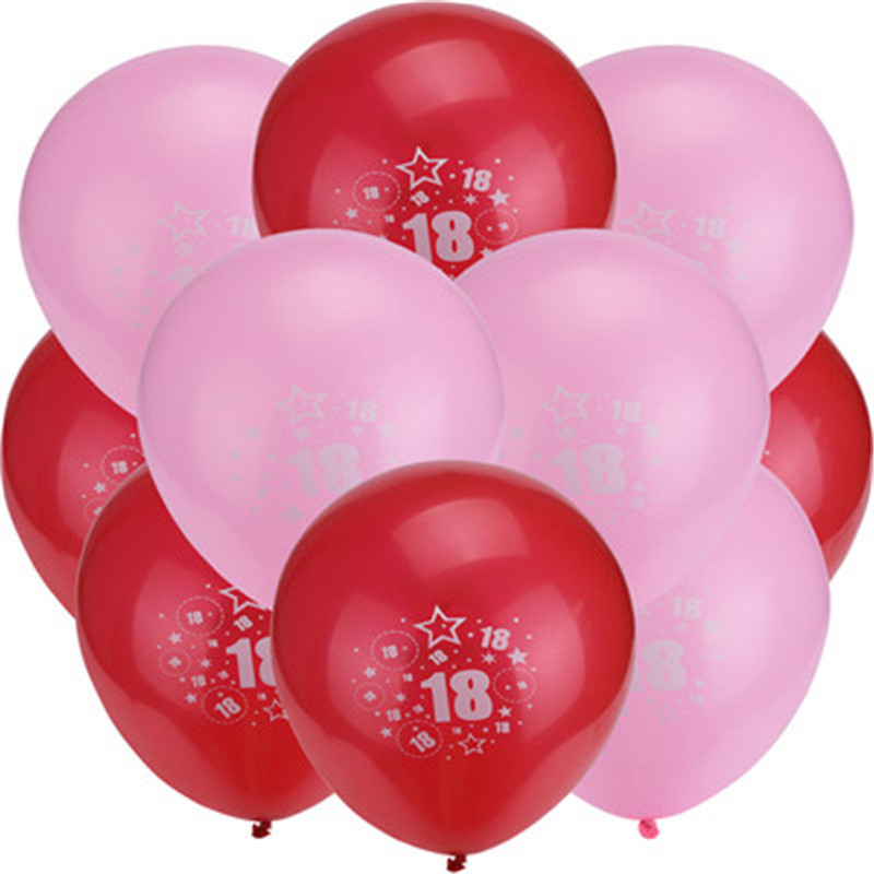 10Pcs Foil Balloon Red And Pink Latex Balloons Age 18 Birthday Anniversary Party Gifts Birthday party Wedding Decoration 2019