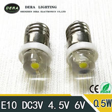 Factory price E10 0.5W 6V 4.5V 3V LED For Focus Flashlight Replacement Bulb Torches Emergency Work Light Pure White