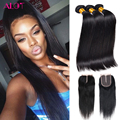 Malaysian Virgin Hair With Closure Grade 8A Malaysian Straight Hair With Closure Cheap Human Hair Weave With Closure And Bundles