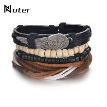 e740fb5989a1 4 unids set trenzado de cuero pulsera encanto de grano de madera pulsera  Punk ajustable cuerda Braslet para los hombres accesori.