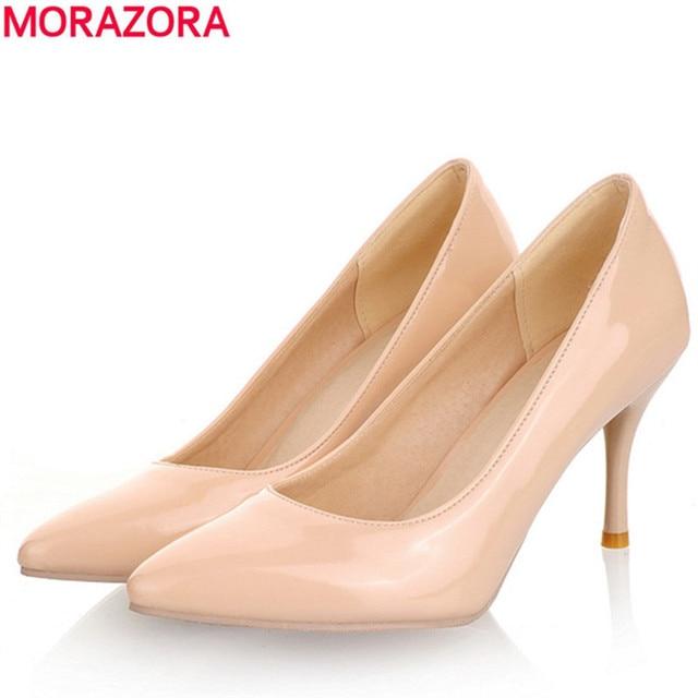 MORAZORA Большой Размер 34-45 2017 Новая Мода на высоких каблуках женщины насосы тонкий каблук классический белый красный nede бежевый свадебные выпускного вечера обувь