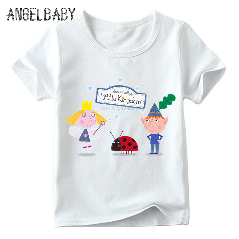 Children Cartoon Ben And Holly Kingdom T Shirt Boys And Girls Summer Short Sleeve White Tops Kids Casual T-shirt,ooo5038