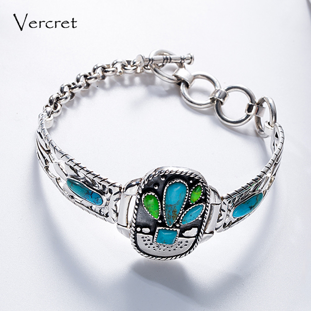 Vercret Cactus Turquoise Native American 925 jewelry bracelet for women adjustable handmade gemstone bracelet jewellery gift chic faux turquoise carving flower bracelet for women