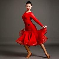 Новый стиль латинских танцев старший сексуальная спандекс марли с длинными рукавами топ + юбка 2 шт. латинские танцы набор для женщин латинс