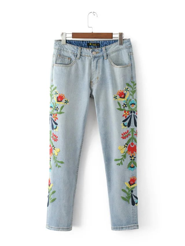 Women Flower Embroidery Straight Denim Pants Trousers 2017 Female Spring New Casual Light Blue Boyfriend Jeans L450 flower embroidery jeans female blue casual pants capris 2017 spring summer pockets straight jeans women bottom a46