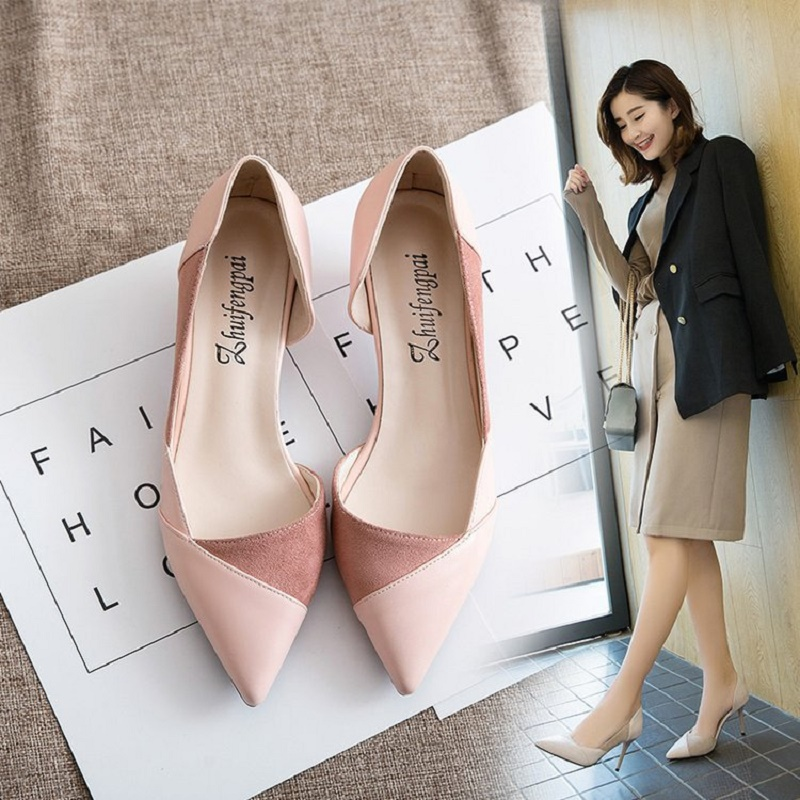 2018 spring and summer new female fashion nude color pointed high heels fine with shallow mouth shoes Korean wild shoes in the summer of 2016 the new wedge heels with fish in square mouth denim fashion sexy female cool shoes nightclubs