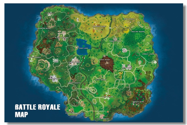 Custom Canvas Wall Paintings Battle Royale Map Poster Battle Royale  Wallpaper Video Game Wall Sticker Mural Bedroom Decor #0836#