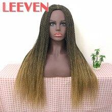 Leeven 22 calowy syntetyczny senegalski 2x twist Million pleciony brak koronkowa peruka na przód dla kobiety wysokiej temperatury włókna Cosplay włosów