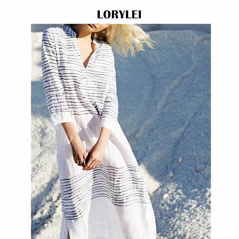 Casual White Cotton Striped Beach Dress Plus Size Three Quarter Sleeve Women  Summer Beachwear Swim Suit 0e7f5e560c1a