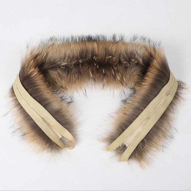 Real fur collar 80cm raccoon Trim of down coat fur strip/hooded winter warm neck warmers raccoon fur scarf unisex hot selli