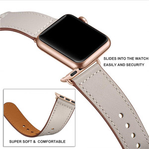 Image 2 - Ivory White Genuine Leather Watch Band Strap For Iwatch 38mm 44mm , VIOTOO Black Color Leather Watch Band Strap For Apple Watch