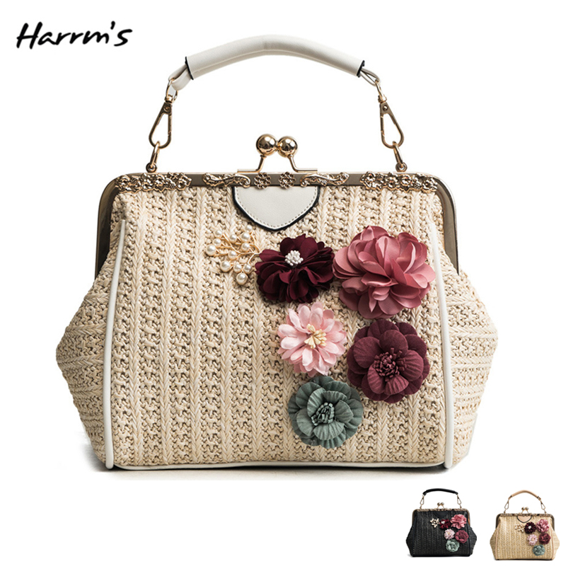 2018 Summer Fashion Retro Straw Shell Bag Women Bag Handbags For Ladies Beach Chain Small Chain kiss Lock Shoulder Messenger Bag