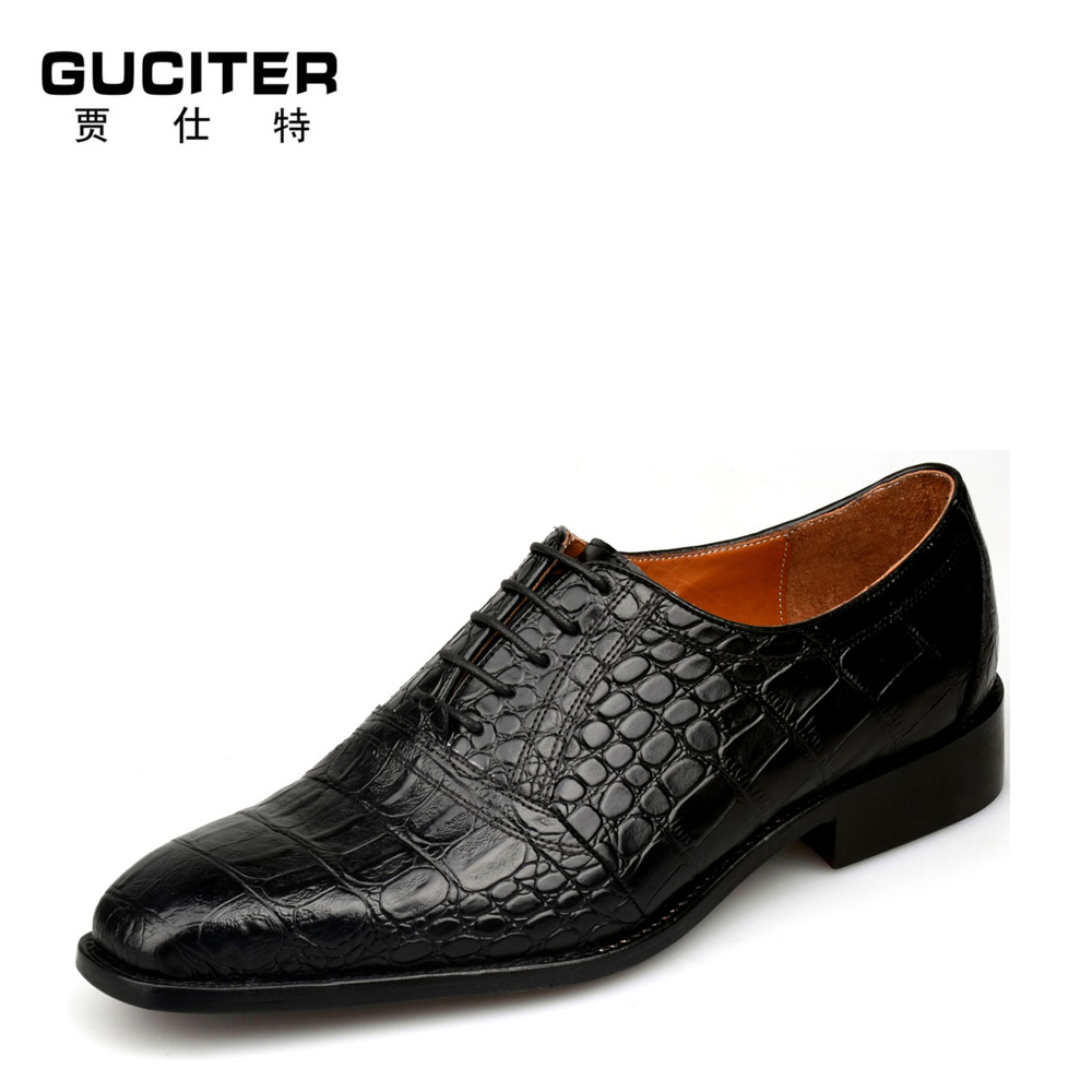 Handmade Shoes custom alligator grain shoes luxury special leather mens goodyear welted Shoes Crocodile grained leather shoe