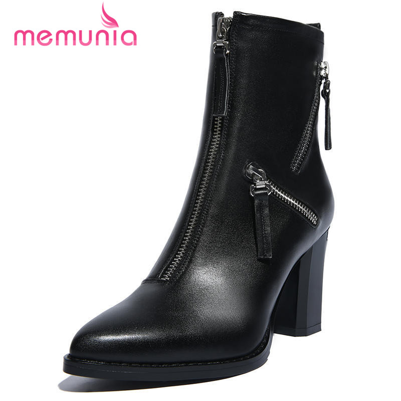 ФОТО large size 34-40 autumn winter boots thick high heel women shoes pointed toe fashion genuine leather ankle boots