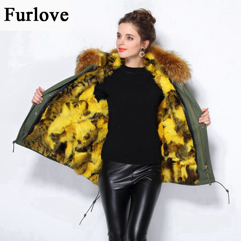 Winter Jacket Outwear Real Raccoon Collar Natural Rabbit Fur Lining Thick Warm Parka Women's Jackets For Women Coat Plus Size 2017 winter new clothes to overcome the coat of women in the long reed rabbit hair fur fur coat fox raccoon fur collar