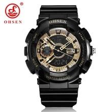 купить Arrival OHSEN Fashion Luxury Analog LED Light G Style Waterproof Watch 5bars Rubber Band Digital Quartz Brand Men Sports Watches по цене 876.67 рублей